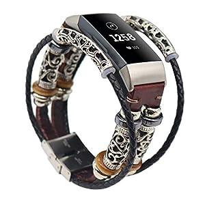 Altsommer Armband für Fitbit Charge 3, Ersatzarmband Vintag Leder mit Klassische Edelstahlschnalle Uhrenarmbänder,Replacement Lederarmband Schnellverschluss für Herren Damen
