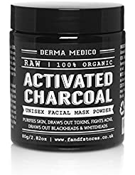 RAW Activated Charcoal Coconut Shell Powder Unisex Facial Mask by Derma Medico - Purifies Skin, Draws out Toxins, Fights Acne, Draws out Blackheads & Whiteheads - Simple DIY Detox & Pore Refining Mask, Easy DIY Body Scrub, 100% Organic, NO Chemicals, Additives FREE - 80G / 2.82oz (Premium Grade)