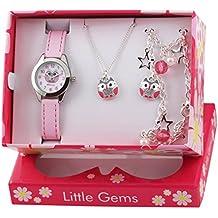 Ravel Olly para niños Little Gems de búho reloj infantil de cuarzo con esfera analógica Blanca y Rosa correa de plástico R2225