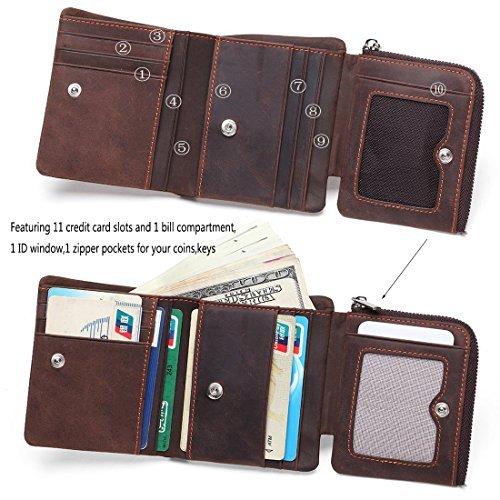 DUEBEL RFID Blocking Tri-Fold Herren Leder Brieftasche / Halter / Case / Protector - Hält 9 Kreditkarten, 1 ID Fenster, 1 Bill Kompartment, 1 Seite Reißverschluss Tasche (Tri-fold-karte)