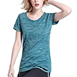 Dealikee Striped Womens Tee, Sleeve Round Neck T-Shirt, Slim Waist, Running Workout Quick Drying Ladies Top Travelling & Gym -Blue L
