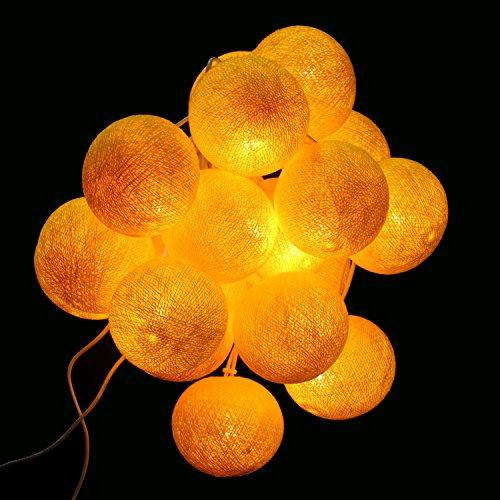 Stimmungs Lichterkette Baumwollkugeln zum dekorieren für Innenräume mit 20 Bällen in gelb Uni Farben