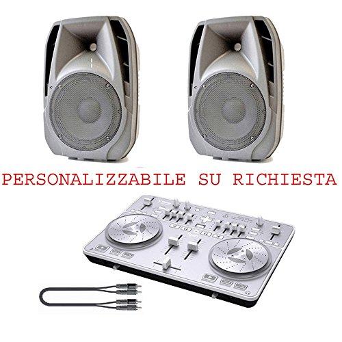IMPIANTO DJ SPIN 0.0 PACK COMPLETO CON DIFFUSORI 300 W DI PICCO - Xlr Adattatore Mm 3,5