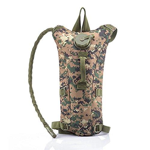 Risefit Military Hydration Rucksack Trinkrucksack mit 2.5L Trinkblase, Trinksystem Fahrradrucksack für Wandern, Radfahren, Joggen, Camping, Verschiedene Färben Gewählt Jungle Digital
