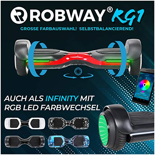 Robway Rg1 Hoverboard - Das Original - Self e Balance - 2 x 350 Watt Motoren - Led 16 Mio Farben - Bluetooth - App - Lithium Akku (Schwarz/Rot)