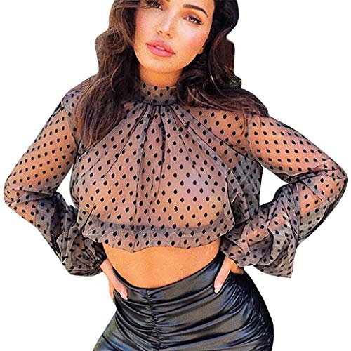 Likecrazy Damenmode Bluse Puff Sleeve Mesh T Shirt Damen Sommer Casual langärmelige Tops Doppelschicht Classic Langarmshirts Hemd Stehkragen Outwear -