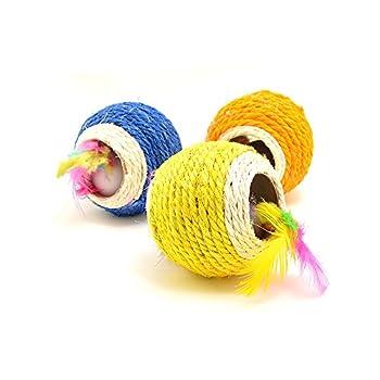 Grande balle en sisal pour chats Avec Trou et plumes colorées