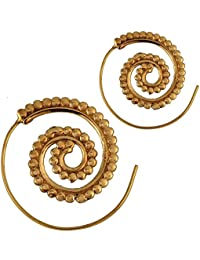 Chic-Net Espirales pendientes bolas de latón latón antiguo de oro Piercing tribal