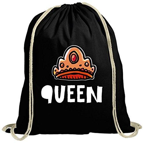 Geschenkidee natur Turnbeutel mit Crown Queen Motiv von ShirtStreet schwarz natur
