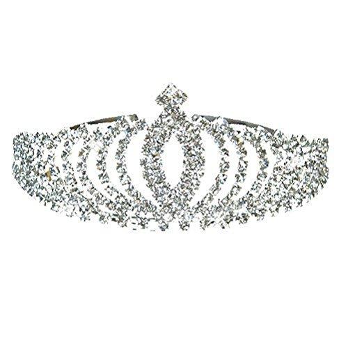 PIXNOR bella brillante strass Corona Tiara cerchietto - ottimo per nozze Bridal Bridesmaid Prom (argento)