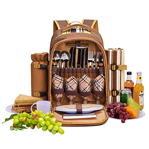 apollo walker Borsa frigo APOLLOWALKER 4 Person Picnic Backpack Hamper con Set di stoviglie e Coperta