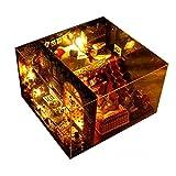 [DIY Puppenhaus ] Miniatur mit Möbeln Kreativ Puppenhaus mit LED Licht 22cmx21cmx17cm Weihnachtsgeschenk Kinder