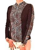 PoshTops Damen Zip up Blazer mit Stehkragen Dehnbares Material Damenshirt Lang Ärmel Größen S – XXXL Abendkleidung Freizeitkleidung Plus Size Kleidung (Schwarz, XXL/46)