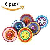 Kreisel aus Holz 6 Stück mit farbenfroher Bemalung Kreisel spielzeug Spielzeugkreisel aus Holz kleinspielwaren Für Kinder 3-7 Jahre alt (6Pcs / Set, Farbe zufällig)
