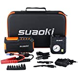 Suaoki G7 Plus 18000mAh Multi-function Car Jump Starter Démarrage de Voiture avec 600A Courant de Crête Alimentation Eléctrique d'Urgence pour Voiture avec LED Flashlight + 80 PSI Compresseur d'air Pompe(Orange)