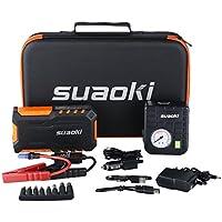 Suaoki G7 Plus 18000mAh Booster Batterie 600A Courant de Crête Jump Starter Démarrage de Voiture Alimentation Eléctrique d'Urgence LED + 80 PSI Compresseur d'air (Orange)