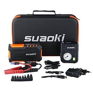 SUAOKI G7 Plus – Jump Starter de 18000mAh, 600A arrancador de Coche con Mini Compresor de Aire (Multifuncion de Linterna LED, bateria Externa, 80 PSI Mini Bomba compresor de Aire) (Naranja)