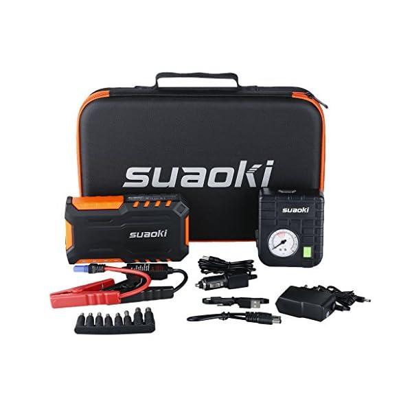 SUAOKI G7 Plus – Jump Starter de 18000mAh, 600A arrancador de Coche con Mini Compresor de Aire (Multifuncion de Linterna…