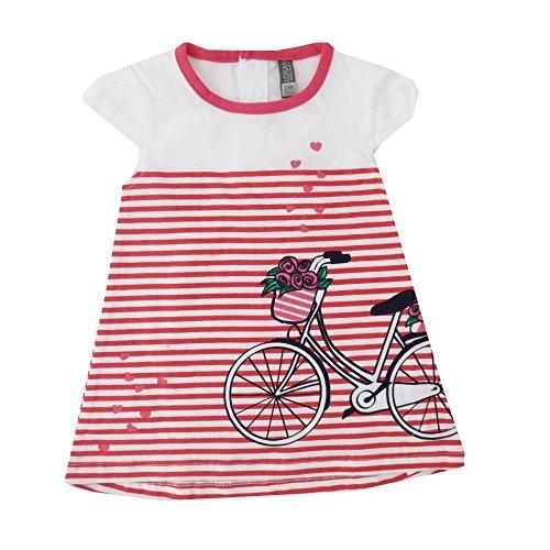 Kleid weiß rot gestreift Fahrrad 12-18 Monate (80/86)