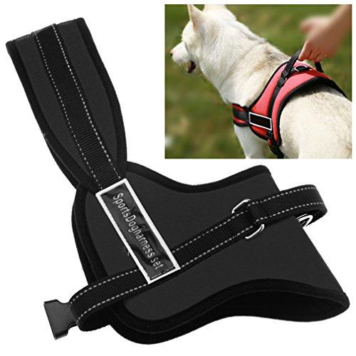 Preisvergleich Produktbild Einstellbar M Hundegeschirr Dog Antizug Hunde Brustgeschirr Neu Schwarz