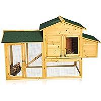 Melko Hühnerstall XXL Hühnerhaus mit Freilaufgehege, 168 x 75 x 103 cm, aus Holz, inkl. Rampe + Schublade + abnehmbares Dach