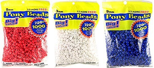 Darice 06121-2-02 1000 Count Pony Beads, 9mm, Opaque White (Combo Pack) by - 02 Combo Pack