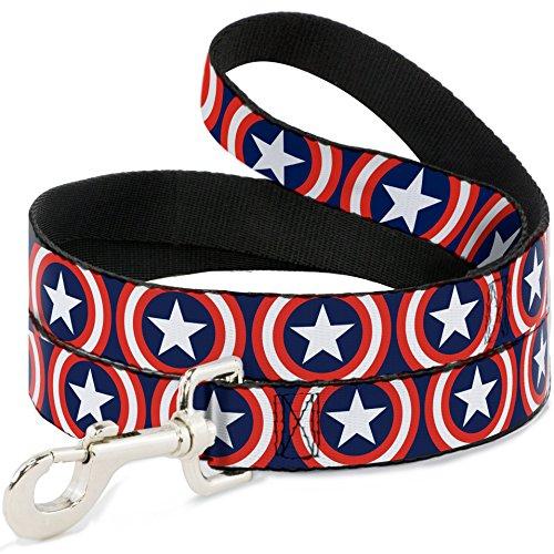 Buckle Down Captain America Shield Repeat Hundeleine mit Schnallen, 1,2 m lang, 1,27 cm breit, Marineblau, 4 Feet Long - 1