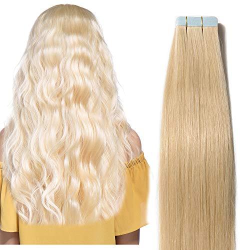 60cm extension capelli veri adesive riutilizzabili - 20 fasce * 2.5g #613 biondo - 100% remy capelli umani tape in