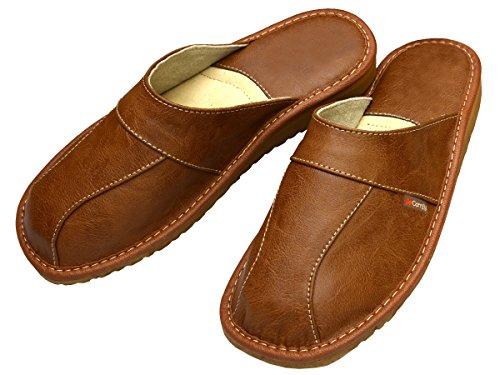 BeComfy Herren Hausschuhe Leder Pantoffeln Geschenkkarton (Wahlweise) Modell FM81 Braun