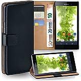 OneFlow Tasche für Sony Xperia Z1 Hülle Cover mit Kartenfächern | Flip Case Etui Handyhülle zum Aufklappen | Handytasche Schutzhülle Zubehör Handy Schutz Bumper in Schwarz