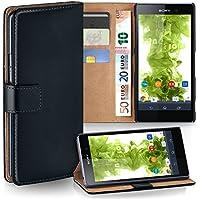 Sony Xperia Z1 Hülle Schwarz mit Karten-Fach [OneFlow 360° Book Klapp-Hülle] Handytasche Kunst-Leder Handyhülle für Sony Xperia Z1 Case Flip Cover Schutzhülle Tasche