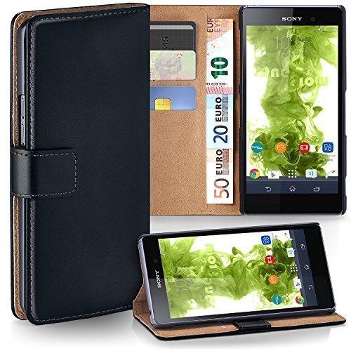 moex Sony Xperia Z1 | Hülle Schwarz mit Karten-Fach 360° Book Klapp-Hülle Handytasche Kunst-Leder Handyhülle für Sony Xperia Z1 Case Flip Cover Schutzhülle Tasche