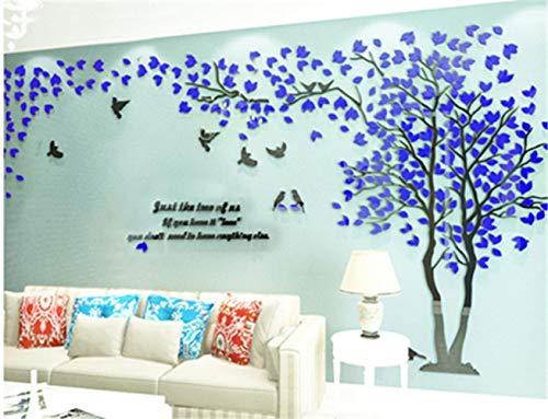 3D riesige kreative baum wand applique wandaufkleber acryl wandaufkleber vogel weinstock zweig wandkunst wohnzimmer schlafzimmer kinderzimmer aufkleber, dunkelblau rechts abschnitt, S - Rechts Abschnitt