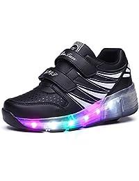COSHOES Kinder Schuhe Schuhe mit Rollen Skateboardschuhe für Jungen Mädchen Sportschuhe Turnschuhe Laufschuhe Sneakers mit Rollen Rollschuhe LED Wheels Schuhe 30-38
