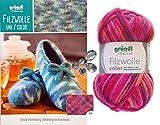 3x50 Gramm Gründl Filzwolle Color Wolle SB-Pack Wollset inkl. Anleitung für Gestreifte Filzhausschuhe mit 2 Strasssteine Zum aufnähen (30 Pink Mix)