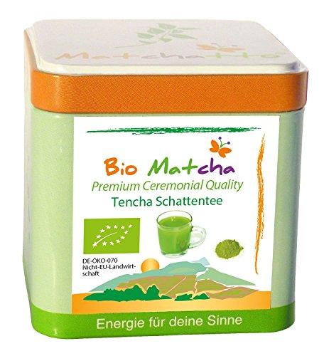 BIO MATCHA PULVER (CEREMONIAL GRADE) – Premium Tencha (laborgeprüft !) – Grüner Tee in Rohkost Qualität aus natürlichem Anbau (handgepflückt & auf Stein gemahlen)
