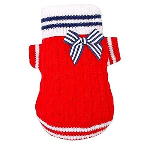 SAMGU Pullover style de Marine Chandail a Col Vetement Tricote a pour Chien chandails tricotés color rouge size Medium