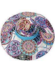 LKMNJ La Sra. Sun Software Sombreros Sombreros de playa de Canto Grande plegable ,AZUL UN