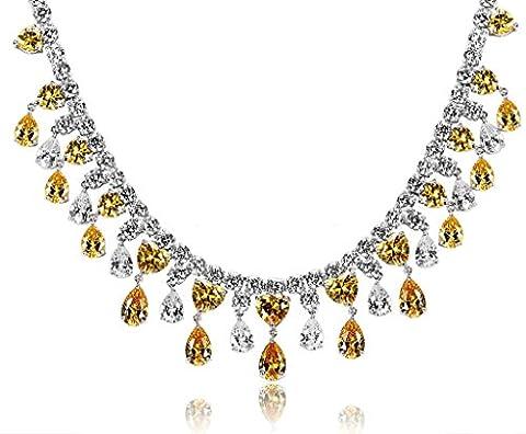 Epinki Plaqué Argent Zircon Cubique Cristal Larme Cordon Jaune Collier Pour La Mariée Mariage