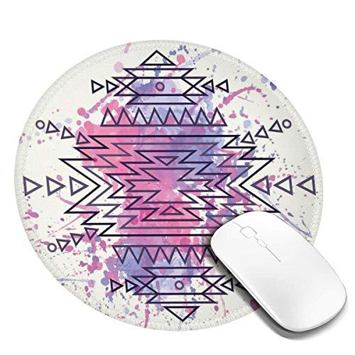 Runde Mausunterlage, aztekisches Muster mit Bstroke-Aquarellen ry Hintergrund-Volksdruck, rutschfeste Spiel-Mausunterlage