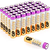 AAA Batteries Pack of 40-1.5V / Micro/Mini / Penlite / LR03 by GP Batteries Extra Alkaline Batteries Suitable for everyday use in a variety of devices - Clocks/Remotes / Mouse/Torch / Etc