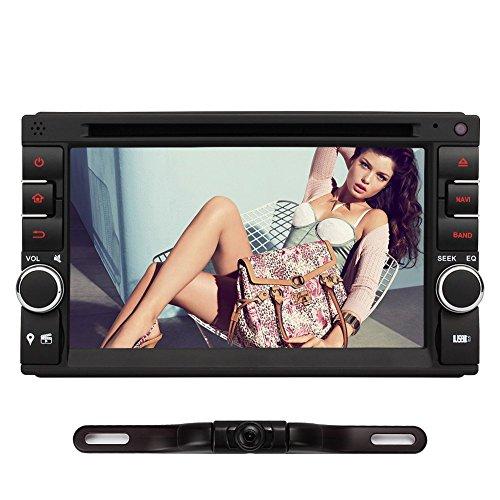 6,2' Doppel Din Autoradio DVD Player NAVISKAUTO Radio GPS Navigation Kapazitiv Touch Screen Bluetooth 64GB SD USB FM AM Radio Lenkrad-Steuerung Rückfahrkamera MS0263+Y0812