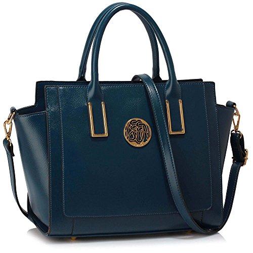 Meine Damen Umhängetaschen Frauen Große Designer Handtaschentoteschulterkunstleder Modische Taschen (A - Schwarz) C - Marine