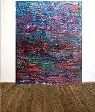 augustandmarch SEHR GROßES Bild ORANGE BLAU GRÜN ABSTRAKTE Kunst 120 x 150 cm UNIKAT FERTIG ZUM AUFHÄNGEN LEINWAND ORIGINAL RAKELTECHNIK NACH Richter