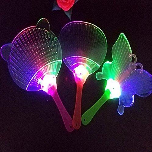 UChic 3 Stücke Mode LED Chinesische Hand Fan Kunststoff Bunte Leuchten Blinkende Kinder Spielzeug Kostüm Party Dekoration Werbung Geschenk Stil zufällig (Tardis Kostüm Box)