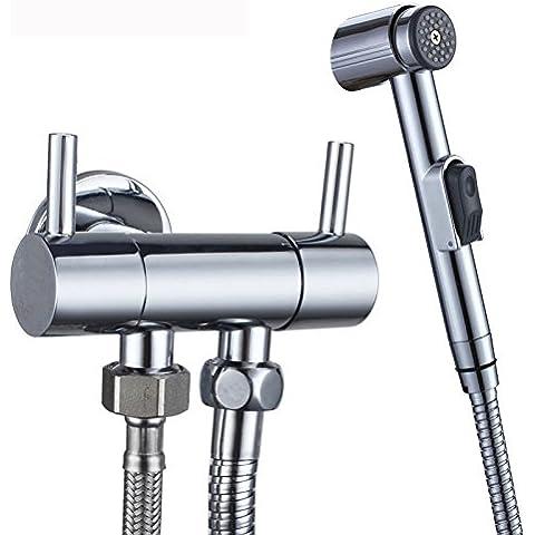 AZOS montado en la pared inodoro bidé grifos baño accesorios pulverizador de plástico ABS Alcachofa de ducha manguera de acero inoxidable cromado polised