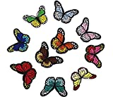 Kanggest Aufnäher Stoff Aufkleber Schmetterling Patch Sticker Klein Aufbügeln DIY Kleidung Applikation Patches Flicken mit Kleber für T-Shirt Jeans Taschen Schuhe Hüte