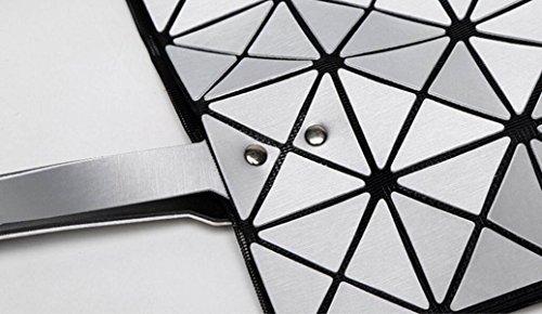 FZHLY Beiläufige Art Und Weise Der Dame Geometrische Ling Grid Matte Falttasche,DarkBlue DarkGray