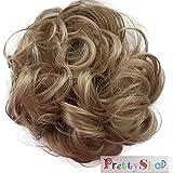 PRETTYSHOP Postizo Coletero Peinado alto, VOLUMINOSO, rizado, Moño descuidado rubio oscuro G19A # 24A