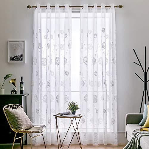MIULEE Vorhang Sheer Voile Blumen Stickerei Vorhänge mit Ösen transparent Gardine 2 Stücke Ösenvorhang Gaze paarig schals Fensterschal für Wohnzimmer Schlafzimmer 225 cm x 140 cm(H x B) 2er-Set
